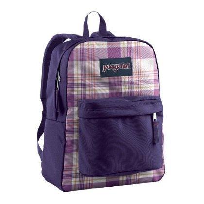 Jansport Backpack Superbreak Pure Purple White Punjabi Purple Magic Plaid for School Work or Play