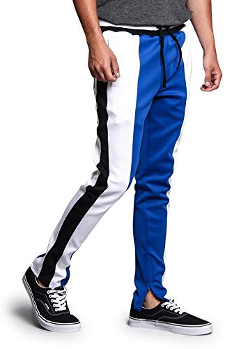 Slim Fit Contrast Three Tone Side Stripe Flat Drawstring Waistband Inside Ankle Zipper Trackpants TR524 - Royal Blue/White - Large - -