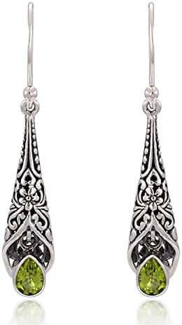 925 Sterling Silver Bali Detailed Filigree Genuine Green Peridot Dangle Earrings-Nickle Free