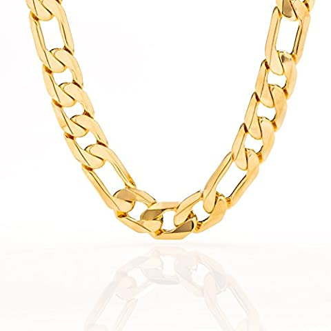 11MM (XXL) Gold Figaro Chain, Stunning 24K Flat Overlay Necklace, Solid Look and Feel, Tarnish-Resistant, Hip Hop Fashion for Men, Guaranteed for Life, Made In USA by Lifetime Jewelry, 18 (24k Gold Necklace Solid)