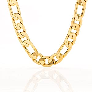 Lifetime Jewelry 11mm Figaro Chain – 20X More Real 24k Plating Than Other Necklaces – Heavy & Durable Necklace Chain with a Look & Feel of Solid Gold – Free Lifetime Replacement Guarantee 18-36 inch