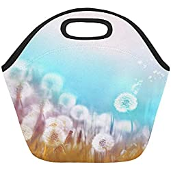 Insulated Neoprene Lunch Bag Spring Summer Floral Border Template Air Large Size Reusable Thermal Thick Lunch Tote Bags For Lunch Boxes For Outdoors,work, Office, School