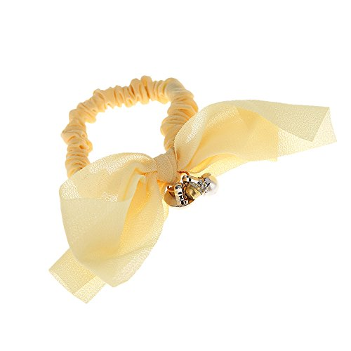 Yellow Color Elegant Chiffon Elastic Hairband Pearl Bowknot Hair Ring Headband Women Jewelry Hair Decoration tools for style (Band Yellow Womens Box)