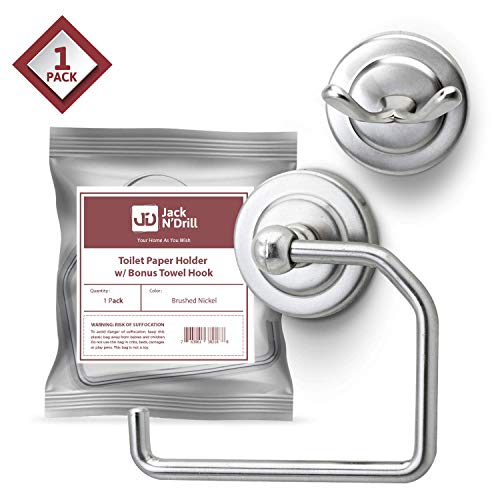 Jack N' Drill Toilet Paper Holder 1 Pack with Free Towel Hook, -