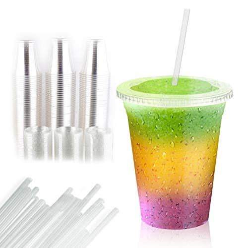 100 Pieces Of 16 Oz Plastic Cups, Lids and Straws, Durable and Disposable, Perfect for Your Cold Drink, Ice Tea, Cappuccino, Fruit Shake or Smoothie, Made from Heavy Duty and FDA Approved Material.