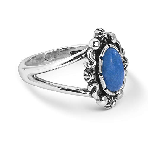 Sterling Silver Blue Denim Lapis Swirl Oval Ring - Classics Collection - Size 08