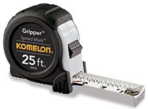 Komelon SM5425 Speed Mark Gripper Acrylic Coated Steel Blade Measuring Tape, 1-Inch X 25Ft, White