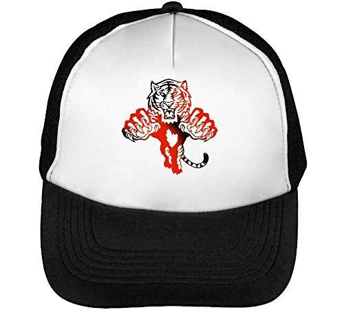 Red Hombre Gorras Black Graphic Negro Pouncing Tiger Beisbol Blanco Snapback 5XB6xx4