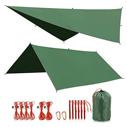 Snow Big 9.8x9.5ft Durable 6 Guy Lines Sunyear Hammock Rain Fly Tent Tarp Provides Effective Protection Against Rain Easy Assembly 2 Stuff Sacks Waterproof 210D Oxford 13ft Long Ridgeline