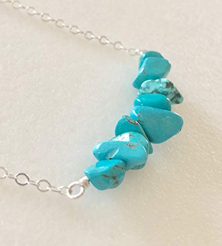 Necklace, Natural Blue Turquoise Gemstone, December Birthstone, Rustic, Boho, Sterling Silver. ()