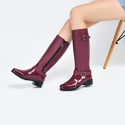 Agua Mastery Boots Zapatos Rojo Altas Impermeable Botas Wellington Ajustable de Goma con Mujer Lluvia H FtTnxWT