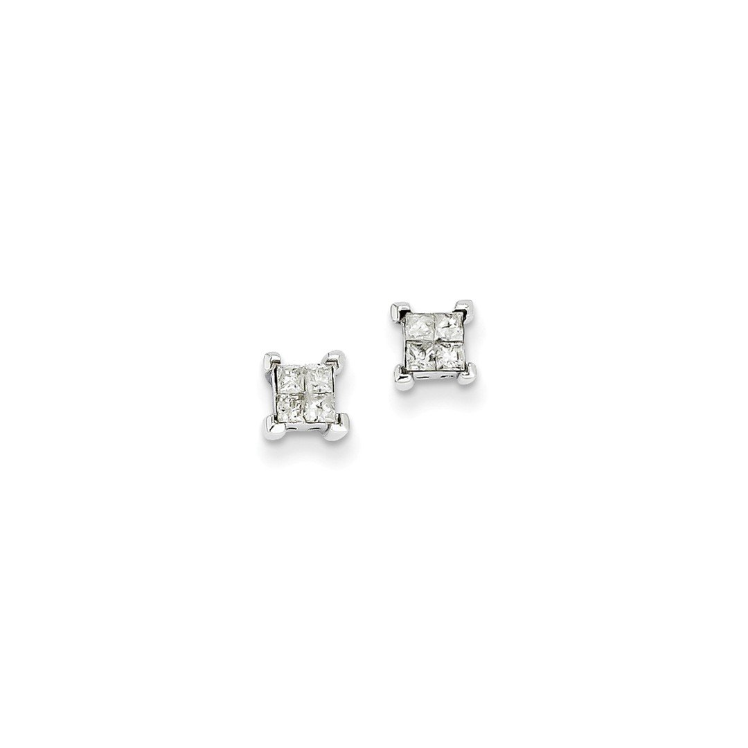 ICE CARATS 14k White Gold Princess Diamond Screwback Ball Button Stud Earrings Fine Jewelry Gift Set For Women Heart