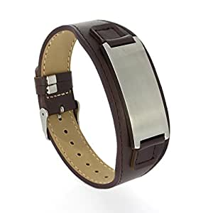personalize engraved brown genuine leather bracelet for