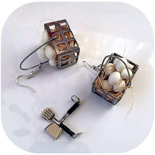 Basket Earrings Dangle (Chicken Egg Basket Earrings Creative Dangle Hypoallergenic Simulation Metal Fun Ear Hook)
