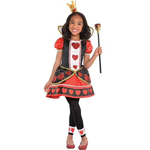 Costumes USA Queen of Hearts Costume for Girls, Size Medium, Includes a Red and Black Dress, Crown Headband, and Tights -