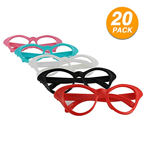 Eye Glasses Nifty 50's Theme Party Cat Style Super Fashion Clear Lens Eyewear Party Favor Fun Costume Accessory Multi Colors Durable Sunglasses (20 Pisces) - By -
