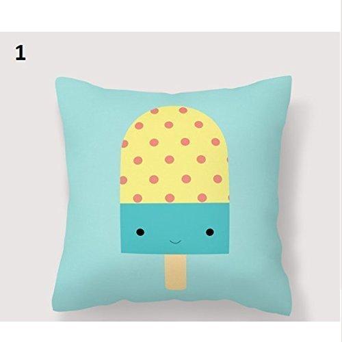 Ice Cream pillowcase, Ice Cream Kid Soft Pillowcase, Ice-Cream kawaii pillow cover Illustration, Decorative Pillowcase, Popsicle Nursery Throw Pillow Cover, 16x16, Gift for Her