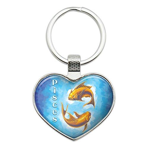 Pisces the Fish Zodiac Horoscope Heart Love Metal Keychain Key Chain Ring (Pisces Love Horoscopes)