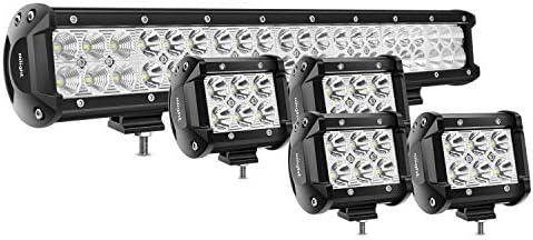 Nilight LED Light Bar 4PCS 4 Inch 18W LED Bar 1260lm Flood Led Off Road Driving Lights Led Fog Lights Jeep Lighting LED Work Light for Van Camper SUV ATV 2 Years Warranty
