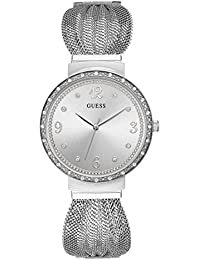 Crystal Accented Stainless Steel Mesh Bracelet Watch. Color: Silver-Tone (Model: U1083L1)