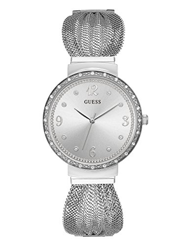 - GUESS  Crystal Accented Stainless Steel Mesh Bracelet Watch. Color: Silver-Tone (Model: U1083L1)
