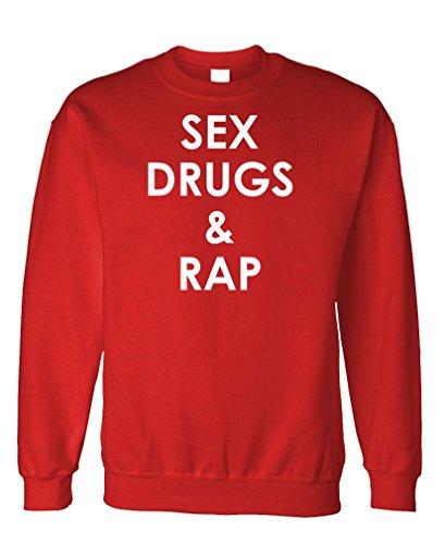 Sex Drugs & Rap - Music Hip hop Horrorcore - Fleece Sweatshirt, XL, Red