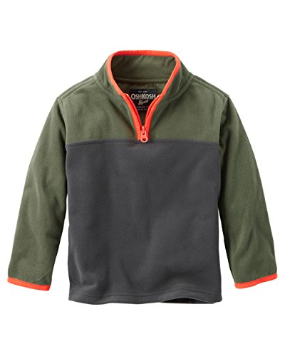 Oshkosh Boys Colorblock Quarter-Zip Fleece Cozie; Green/Gray/Orange - Colorblock Quarter Jacket Zip