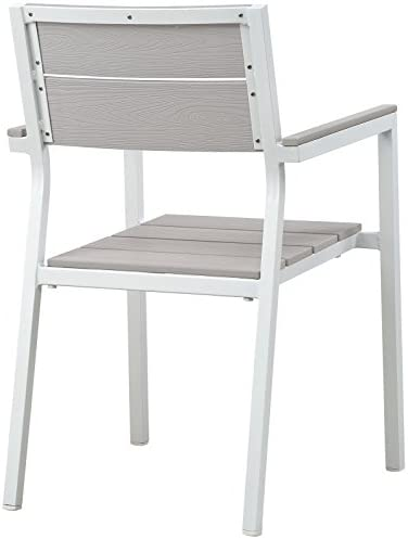 Modway EEI-1506-WHI-LGR Maine Dining Outdoor Patio Armchair in White Light Gray, One