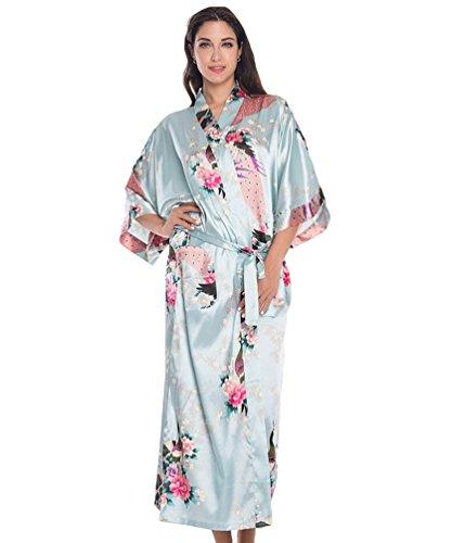 CHENGYANG Damen Morgenmantel Kimono Robe Peacock und Blume Bademantel Nachtwäsche Lange Stil Licht Blau uATkg0P7w
