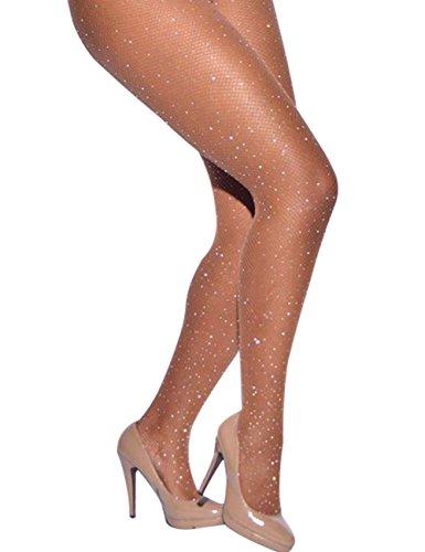 CHRLEISURE Women's Sparkle Rhinestone Fishnets Sexy Tights High Waist Stockings Skin -