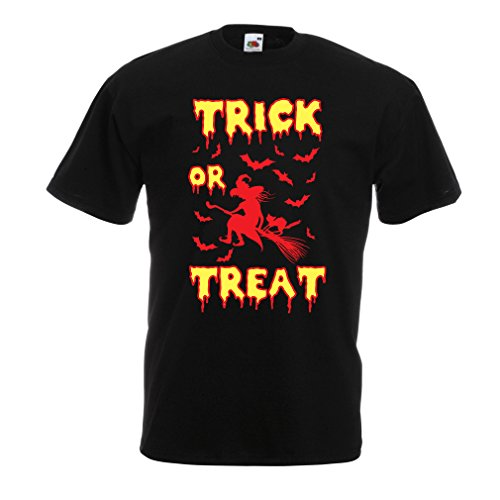 lepni.me T Shirts for Men Trick or Treat - Halloween Witch - Party outfites - Scary Costume (X-Large Black Multi Color) -