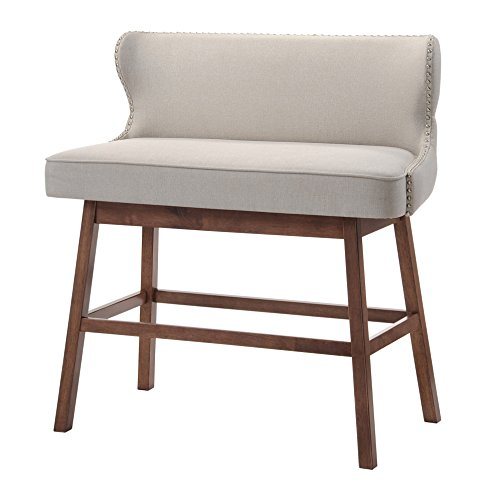 Baxton Studio Gradisca Modern & Contemporary Fabric Button-Tufted Upholstered Banquette Bar Bench, Light Beige (Banquette In Kitchen)