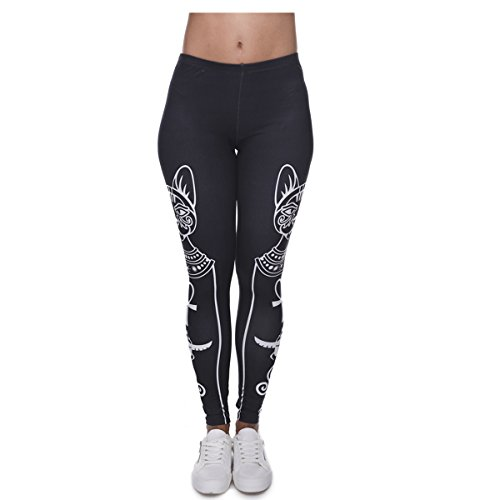 Women's Leggings Large Tights 3D Digital Printed Fashion Ultra Soft Yoga Full Length Workout Pants (egyptian cat and (Egyptian Girl Sexy)