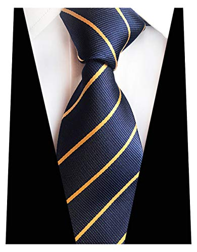 MENDENG Men's Navy Blue Tie Stripes Gold 100% Silk Neckties Classic Striped Ties