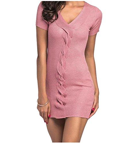 Coolred Femmes V-cou Couleur Pure Sexy Moulante En Maille Pink1 Robe De Soirée Courte