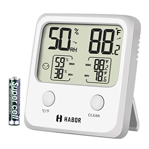Habor Upgraded Indoor Thermometer, Digital Indoor Hygrometer,Large Size Temperature Humidity Monitor with High Accuracy Thermometer Gauge Indicator for Home Office Greenhouse, White (3.3 X 3.2 Inch) by Habor