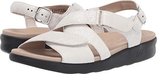 (SAS Womens Huggy Open Toe Casual Strappy Sandals (8 W - Wide (C) US, Vanilla))