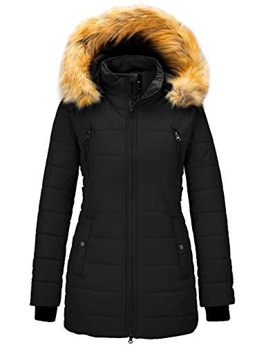Wantdo Women's Winter Warm Long Parka Coat Thicken Outwearwith Hood Black M