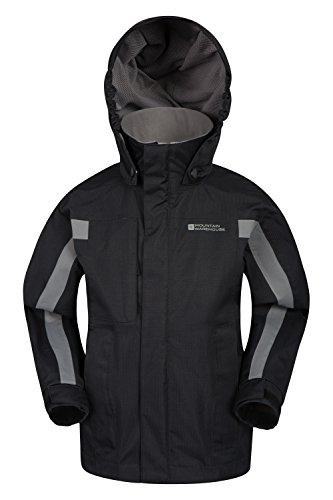 Ideal Adjustable Waterproof Warehouse Cuffs Black Mountain Weather Jacket Samson Childrens Cold for All Hood Jacket Seams Pockets Adjustable amp; Taped Kids Coat Season Zww0PdFq
