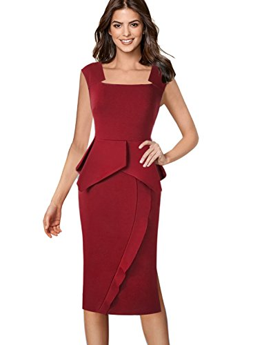 Square Neckline Dress - VFSHOW Womens Square Neck Peplum Side Slits Wear to Work Midi Sheath Dress 463 RED XL