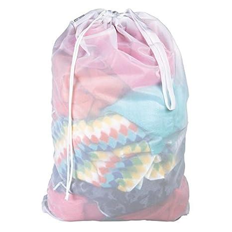 mDesign Saco para ropa sucia – Práctica bolsa para la colada de tejido de red transpirable – Para ropa húmeda y seca – Duradera bolsa de lavado para ...