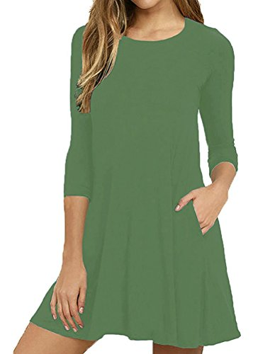 Mippo Women's Plain Round Neck 3/4 & Long Sleeve A-line T Shirt Dress with Pocket