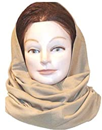 Brown Color Double Knit Cotton Jersey Balaclava Hood Neck Warmer Scarf