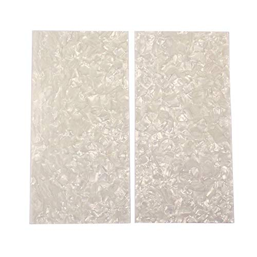 (Domybest 2pcs White Pearl Celluloid Guitar Head Veneers Shell Sheets Guitar Parts 7.87