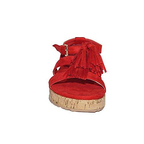Flecos Sandalia Planas Moda 17250 Roja Cómodas 2018 De Kiara Sandalias 1gg Verano Buonarotti Casual Baratas Rojo Mujer vEgdnqwYwx