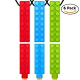Chew Necklace + Pencil Topper Combo (6-pack) for Boys & Girls - Durable & Long Lasting Kids Chewing Sensory Chewelry for Autism ADHD Oral Motor Chewing Biting Teething Needs - Chew Brick Chewlery by S