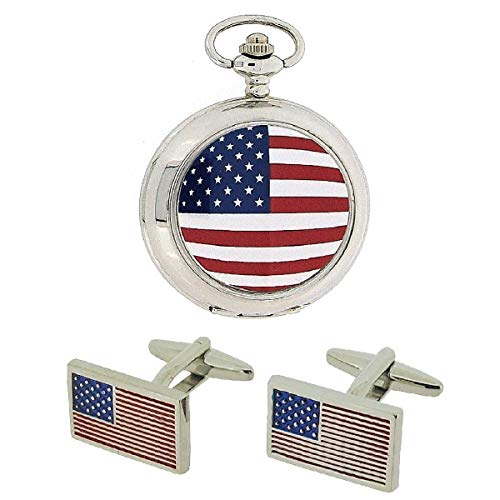 (BOXX American Flag Pocket Watch with 12
