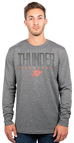 Oklahoma City Thunder Men's T-Shirt Athletic Quick Dry Long Sleeve Tee Shirt, Large, Charcoal