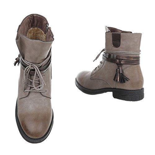 Ital-Design Zapatos Para Mujer Botas Tacón Ancho Botines con Cordones bronzage BH52-KB