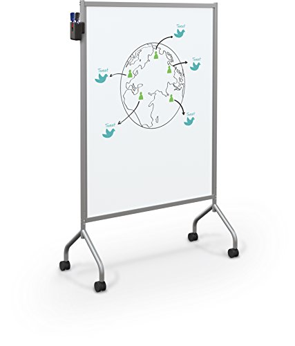 Balt Essentials Double Sided Mobile Whiteboard Easel, Platinum Frame, 71.75